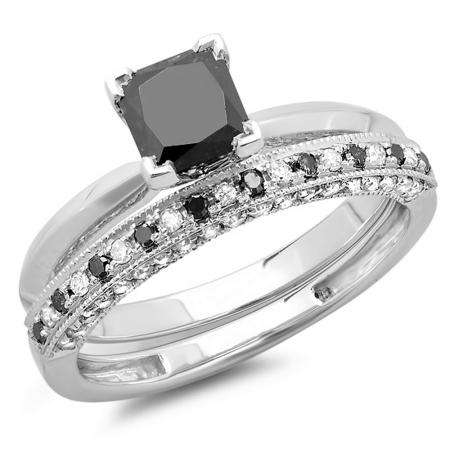 1.50 Carat (ctw) 14K White Gold Princess Cut Black & Round White Diamond Ladies Bridal Solitaire Engagement Ring With Matching Millgrain Wedding Band Set 1 1/2 CT