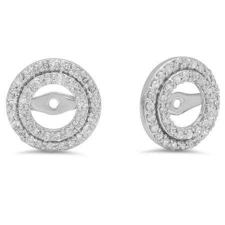 1dbc5cb19528a 0.70 Carat (ctw) 14k White Gold Round White Diamond Round Shape Double Row  Removable Jackets for Stud Earrings 3/4 CT - Dazzling Rock