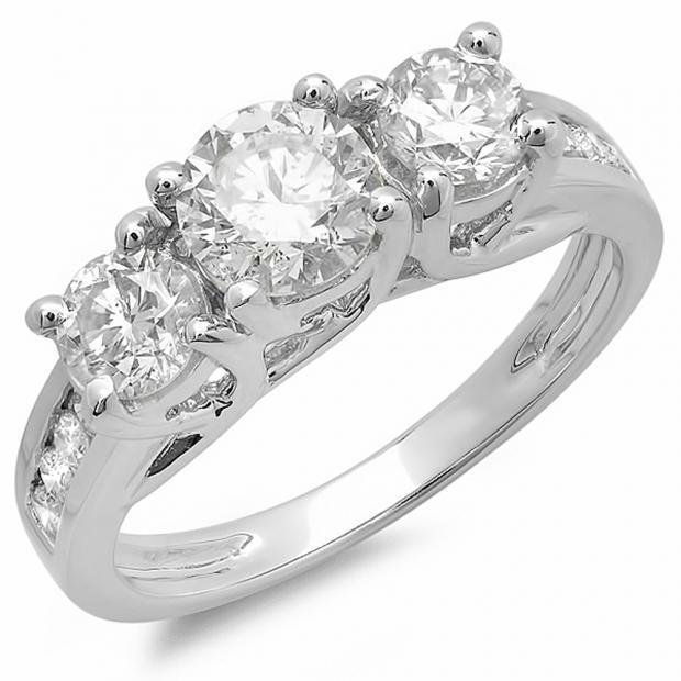 2.00 Carat (ctw) 14K White Gold Round Cut Diamond Ladies Bridal 3 Stone Engagement Ring 2 CT