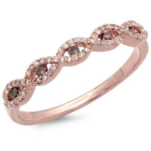 0.25 Carat (ctw) 14K Rose Gold Round Champagne & White Diamond Ladies Bridal Stackable Anniversary Wedding Band Swirl Ring 1/4 CT