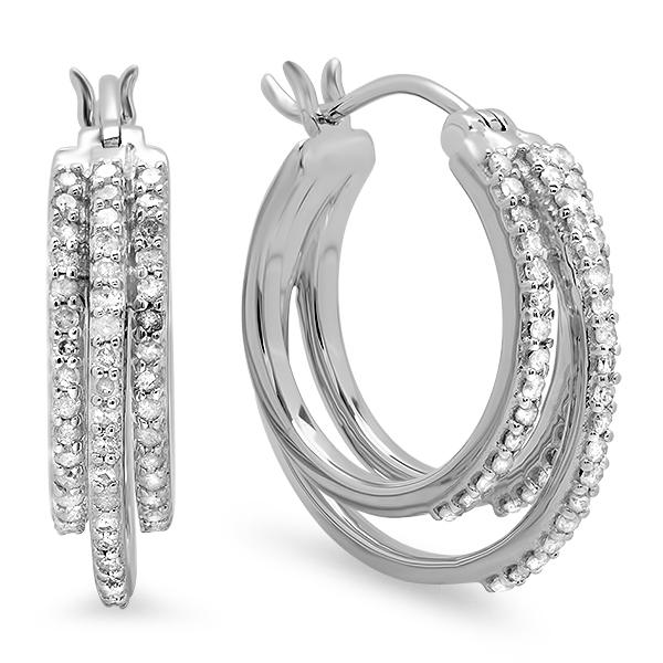 0.75 Carat (ctw) Sterling Silver Real Round White Diamond Ladies Hoop Earrings 3/4 CT