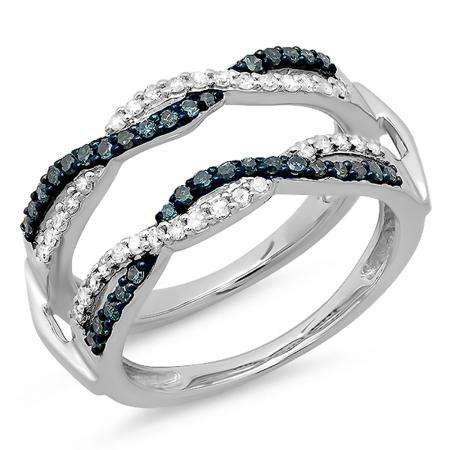 0.55 Carat (ctw) 14K White Gold Round White & Blue Diamond Ladies Swirl Style Anniversary Wedding Band Guard Double Ring 1/2 CT