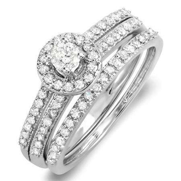 0.65 Carat (ctw) 10K White Gold Round Diamond Ladies Bridal Engagement Halo Ring With Matching Band Set