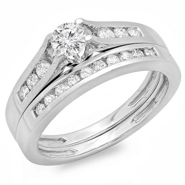 0.75 Carat (ctw) 14k White Gold Round Diamond Ladies Bridal Engagement Ring Matching Band Set 3/4 CT