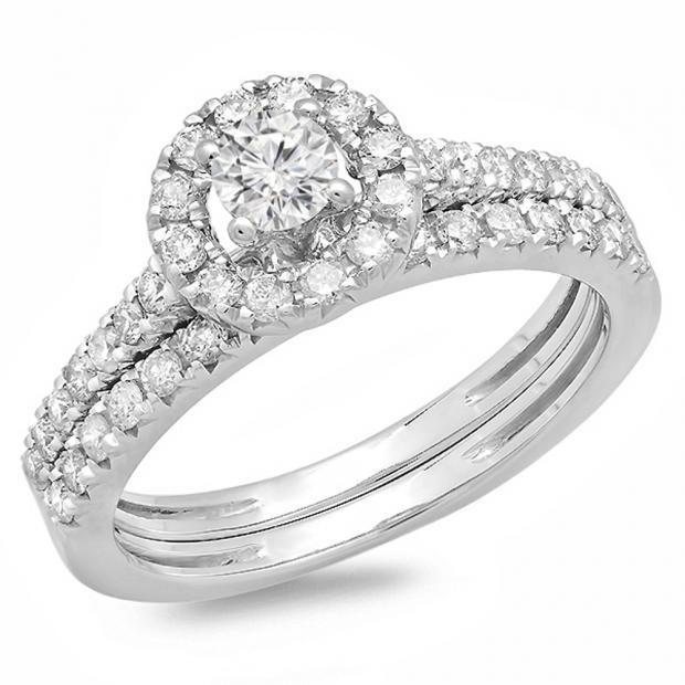 0.85 Carat (ctw) 10K White Gold Round Cut Diamond Ladies Bridal Halo Style Engagement Ring With Matching Band Set