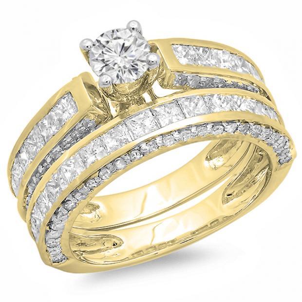 3.00 Carat (ctw) 10K Yellow Gold Princess & Round Diamond Ladies Bridal Engagement Ring Set With Matching Band 3 CT