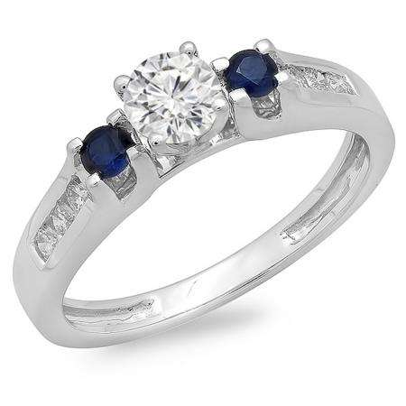 0.75 Carat (ctw) 14k White Gold Round White Diamond And Blue Sapphire Ladies Bridal 3 Stone Engagement Ring 3/4 CT