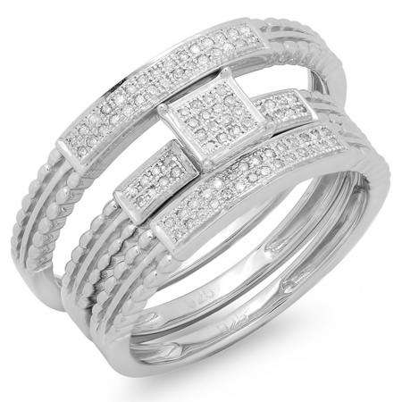 Buy 5 4 Mm 0 20 Carat Ctw Sterling Silver Round Cut Diamond Men And Women S Micro Pave Engagement Ring Trio Bridal Set 1 5 Ct Online At Dazzlingrock Com