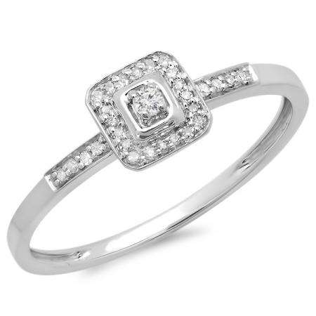0.10 Carat (ctw) 10K White Gold Round Cut Diamond Ladies Bridal Halo Style Engagement Promise Ring 1/10 CT