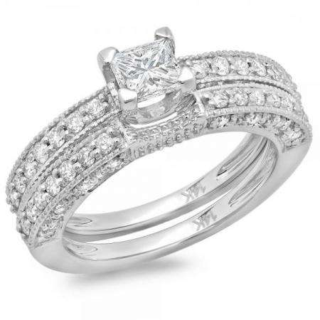 1.50 Carat (ctw) 14K White Gold Princess & Round Diamond Ladies Solitaire With Accents Bridal Engagement Ring With Matching Band Set 1 1/2 CT
