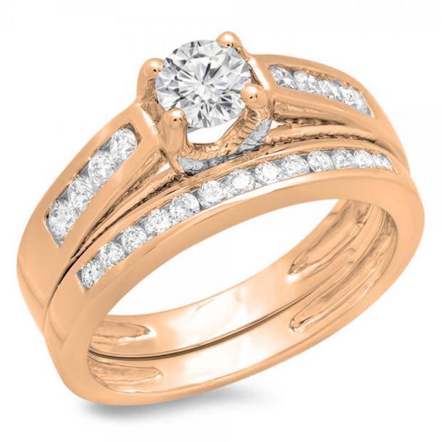 1.00 Carat (ctw) 10K Rose Gold Round Diamond Ladies Vintage Style Bridal Engagement Ring With Matching Band Set 1 CT