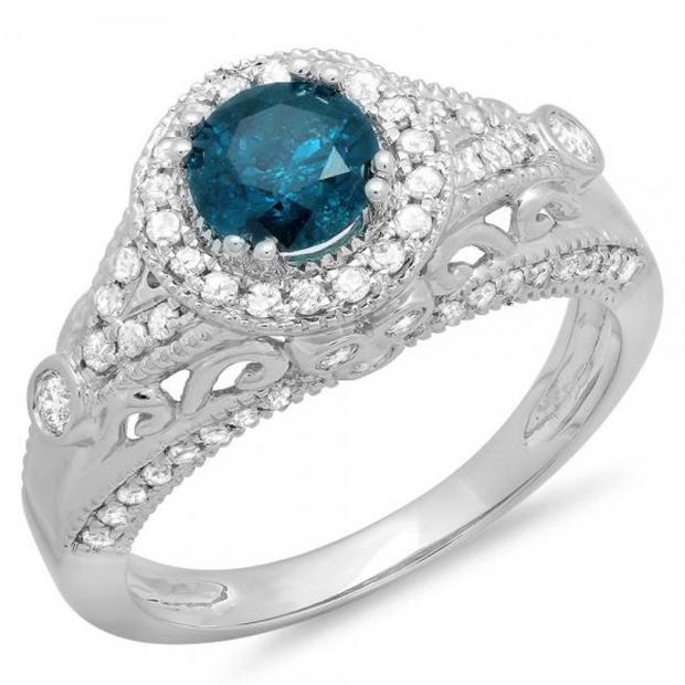 1.33 Carat (ctw) 10K White Gold Round Blue & White Diamond Ladies Split Shank Vintage Bridal Halo Style Engagement Ring 1 1/3 CT