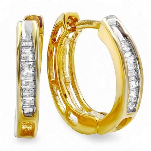 2b49d8019 0.10 Carat (ctw) 18K Yellow Gold Plated Sterling Silver Baguette Cut Diamond  Ladies Huggies Hoop Earrings 1/10 CT