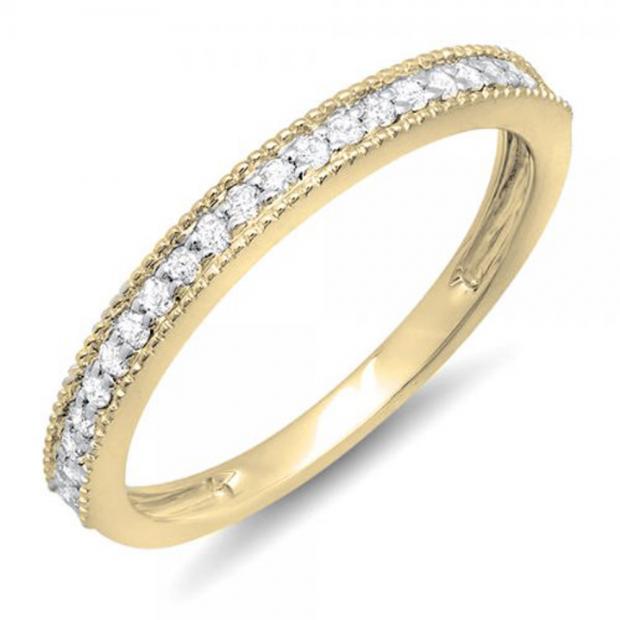 0.23 Carat (ctw) 14k Yellow Gold Round Diamond Ladies Millgrain Anniversary Wedding Stackable Band 1/4 CT