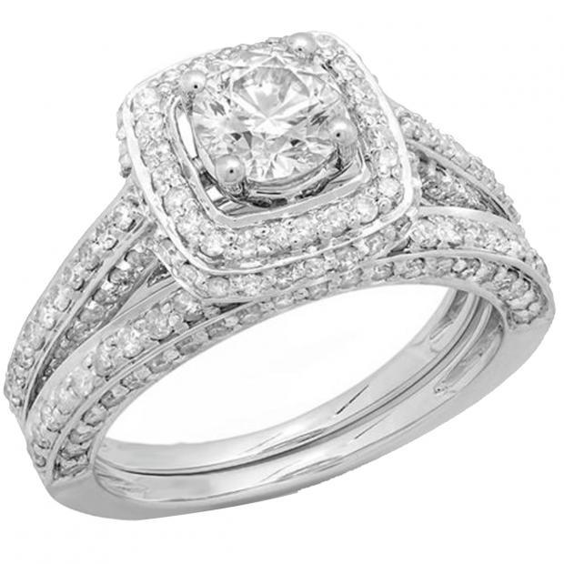 1 85 Carat Ctw 14k White Gold Round Diamond Ladies Halo Style