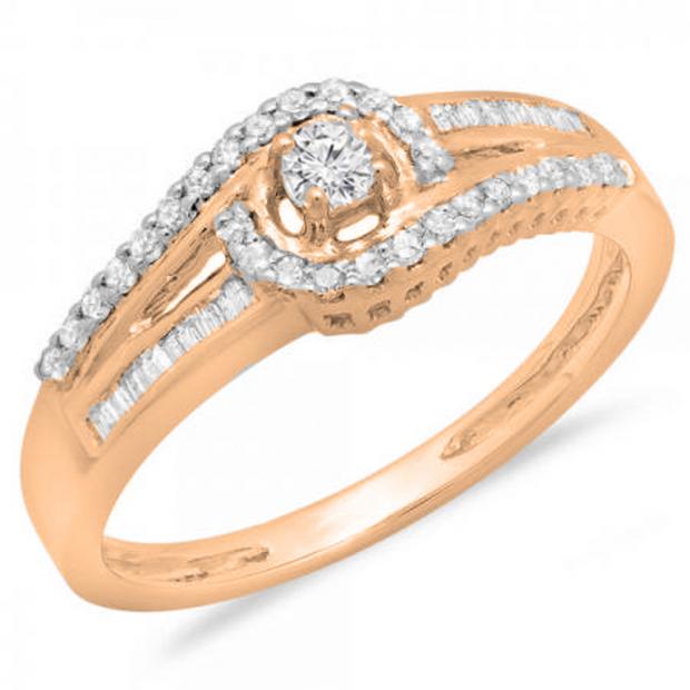 0.33 Carat (ctw) 10K Rose Gold Round & Baguette Cut Diamond Ladies Twisted Swirl Bridal Halo Engagement Ring 1/3 CT