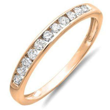 0.30 Carat (ctw) 18K Rose Gold Round Diamond Ladies Anniversary Wedding Band Stackable Ring 1/3 CT