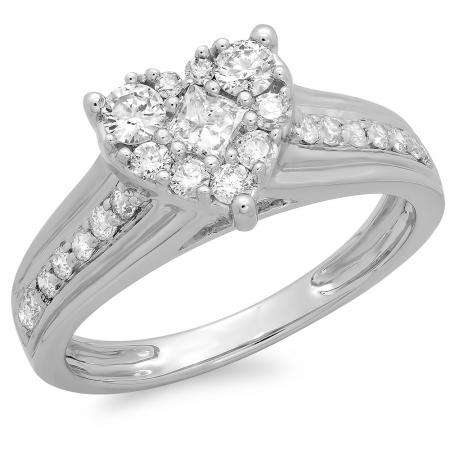 0.70 Carat (ctw) 18K White Gold Princess & Round Diamond Ladies Bridal Heart Shaped Promise Engagement Ring 3/4 CT