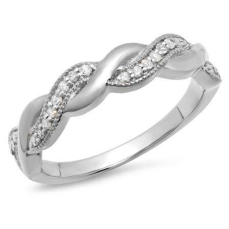 0.15 Carat (ctw) 18K White Gold Round Cut Diamond Ladies Bridal Anniversary Wedding Band Stackable Swirl Ring