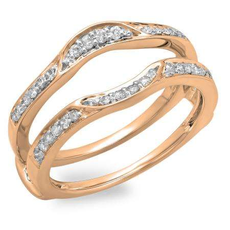 0.25 Carat (ctw) 14K Rose Gold Round Diamond Ladies Anniversary Wedding Band Enhancer Double Guard Ring 1/4 CT