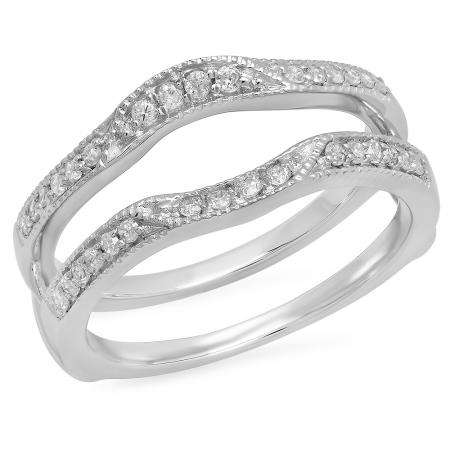 0.25 Carat (ctw) 10K White Gold Round Diamond Ladies Millgrain Anniversary Wedding Band Enhancer Double Guard Ring 1/4 CT