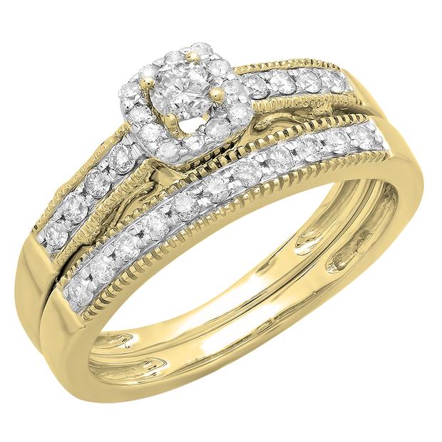 0.50 Carat (ctw) 10K Yellow Gold Round Diamond Ladies Halo Engagement Bridal Ring With Matching Band Set 1/2 CT