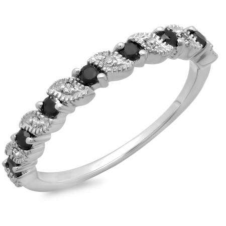 0.30 Carat (ctw) 10K White Gold Round Black and White Diamond Ladies Wedding Anniversary Millgrain Stackable Band Ring 1/3 CT
