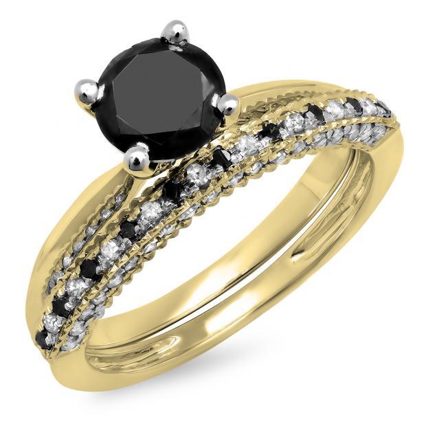1.50 Carat (ctw) 10K Yellow Gold Round Black & White Diamond Ladies Bridal Solitaire Engagement Ring With Matching Millgrain Wedding Band Set 1 1/2 CT