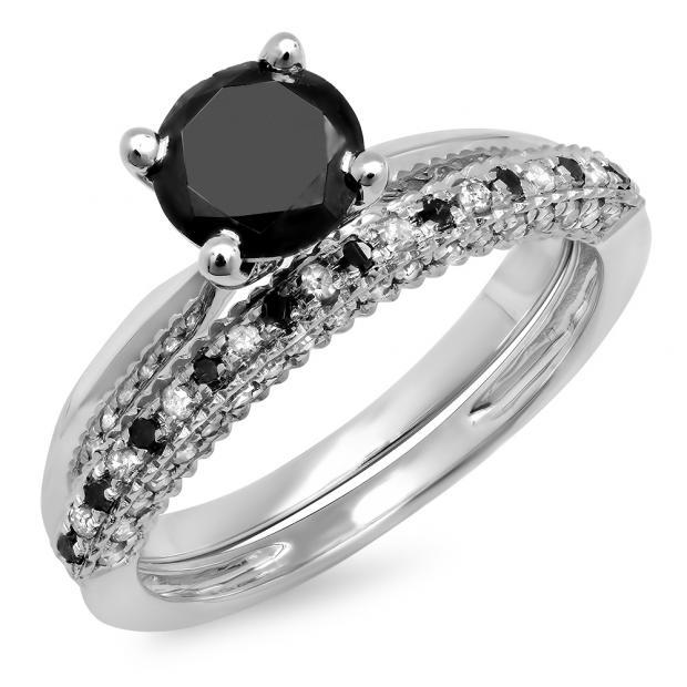 1.50 Carat (ctw) 14K White Gold Round Black & White Diamond Ladies Bridal Solitaire Engagement Ring With Matching Millgrain Wedding Band Set 1 1/2 CT