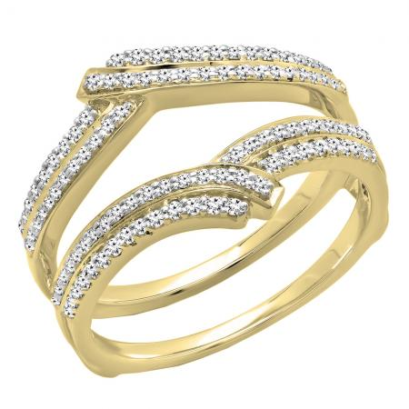 0.32 Carat (ctw) 14K Yellow Gold Round Diamond Ladies Anniversary Wedding Band Enhancer Double Guard Ring 1/3 CT