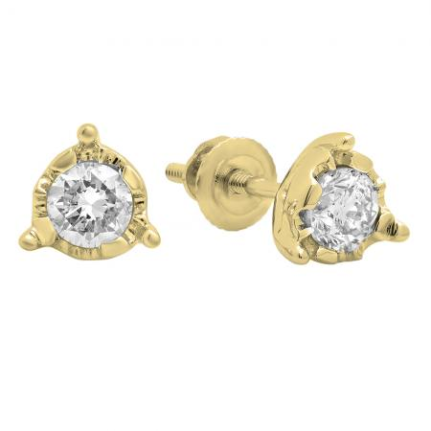 0.60 Carat (ctw) 14K Yellow Gold Round Cut Diamond Ladies Solitaire Bezel Set Stud Earrings