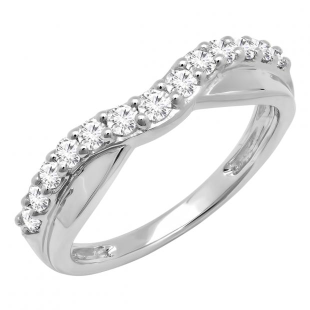 0.55 Carat (ctw) 10K White Gold Round Cut Diamond Ladies Anniversary Wedding Guard Contour Band 1/2 CT