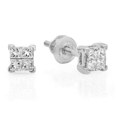 0.33 Carat (ctw) 18K White Gold Real Princess Cut Diamond Ladies Invisible Stud Earrings 1/3 CT