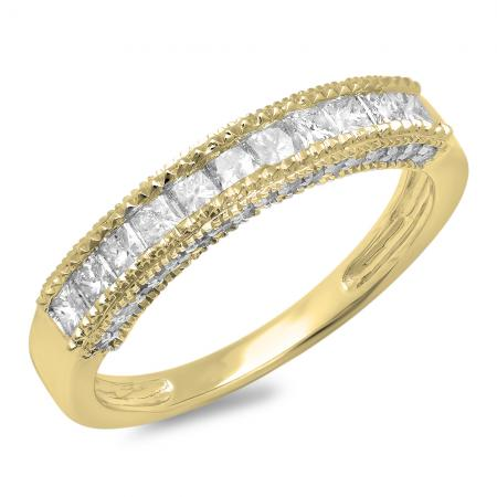 0.75 Carat (ctw) 14K Yellow Gold Princess & Round Diamond Ladies Anniversary Wedding Matching Band Stackable Ring 3/4 CT