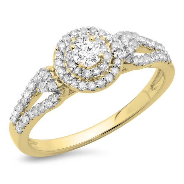 0.60 Carat (ctw) 14K Yellow Gold Round Cut Diamond Ladies Split Shank Vintage Style Bridal Halo Engagement Ring