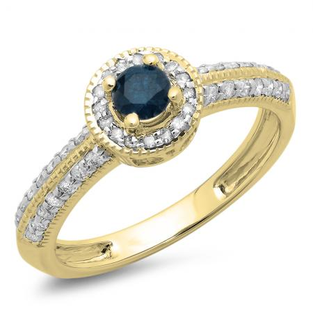 0.70 Carat (ctw) 14K Yellow Gold Round Blue & White Diamond Ladies Bridal Vintage Style Millgrain Halo Engagement Ring 3/4 CT