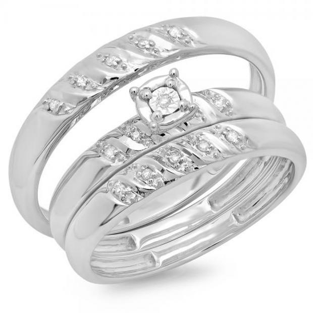 0.10 Carat (ctw) 14K White Gold Round Cut Diamond Men & Women