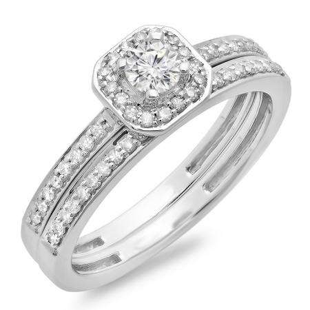 0.55 Carat (ctw) 14K White Gold Round Cut Diamond Ladies Halo Engagement Bridal Ring With Matching Band Set 1/2 CT
