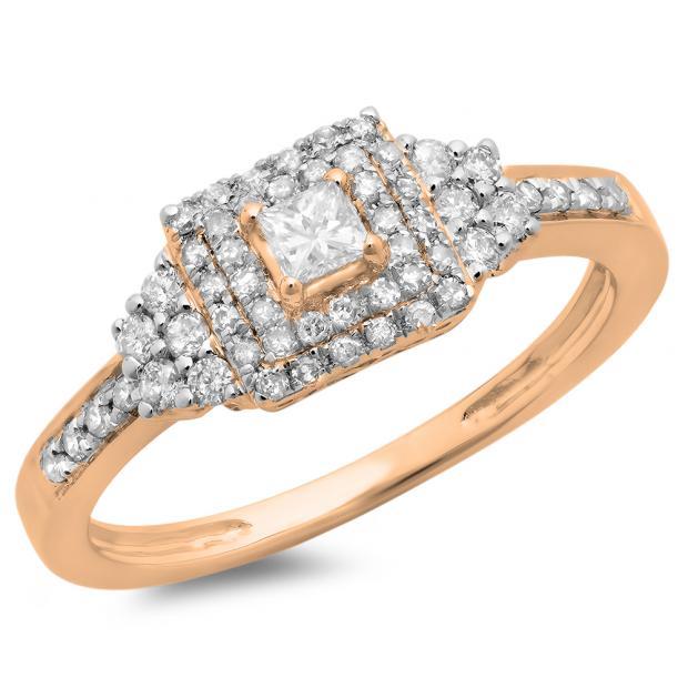 0.45 Carat (ctw) 14K Rose Gold Princess & Round Diamond Ladies Bridal Halo Engagement Ring 1/2 CT