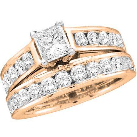 2.00 Carat (ctw) 10K Rose Gold Princess & Round Cut Diamond Ladies Bridal Engagement Ring With Matching Band Set 2 CT