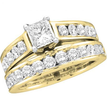 2.00 Carat (ctw) 14K Yellow Gold Princess & Round Cut Diamond Ladies Bridal Engagement Ring With Matching Band Set 2 CT