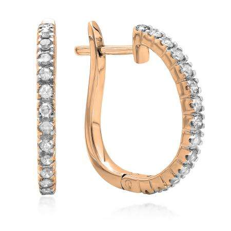 0.25 Carat (ctw) 14K Rose Gold Round Cut Diamond Ladies Hoop Earrings 1/4 CT