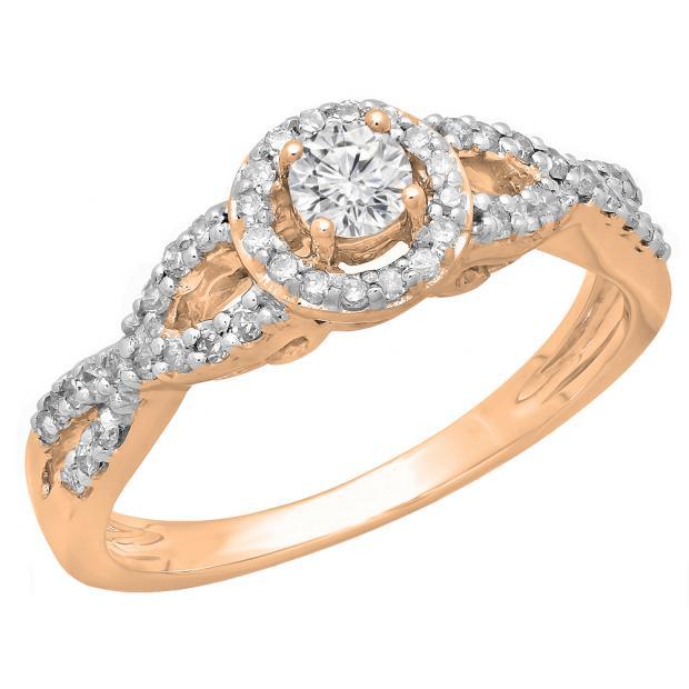 0.50 Carat (ctw) 14K Rose Gold Round Diamond Ladies Swirl Split Shank Bridal Halo Style Engagement Ring 1/2 CT