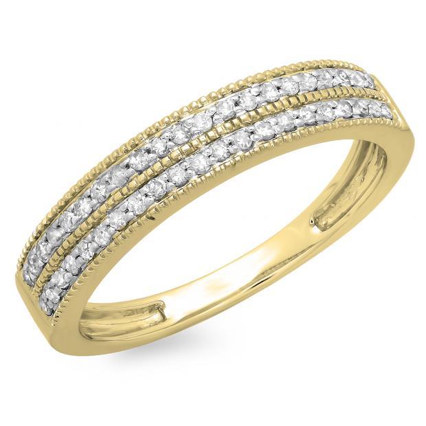 0.25 Carat (ctw) 14K Yellow Gold Round Diamond Ladies Double Row Millgrain Anniversary Wedding Band 1/4 CT