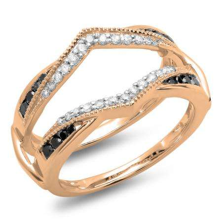 0.50 Carat (ctw) 14K Rose Gold Round Black & White Diamond Ladies Anniversary Wedding Band Enhancer Guard Double Ring 1/2 CT