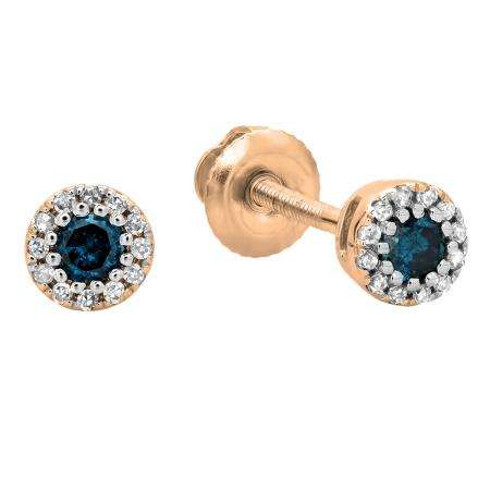 0.20 Carat (ctw) 10K Rose Gold Round Blue & White Diamond Ladies Cluster Halo Style Stud Earrings 1/5 CT