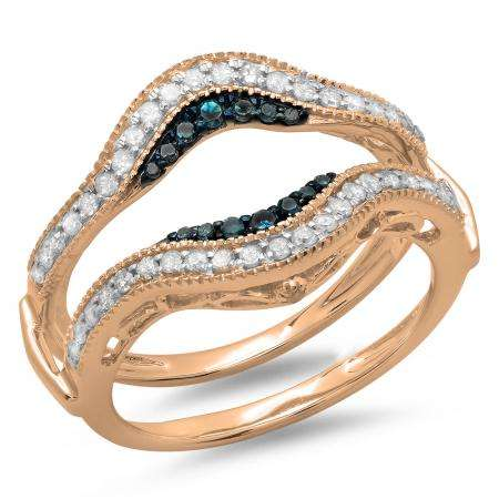 0.50 Carat (ctw) 14K Rose Gold Round Blue & White Diamond Ladies Anniversary Wedding Band Enhancer Guard Double Ring 1/2 CT
