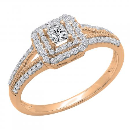 0.50 Carat (ctw) 14K Rose Gold Princess & Round Cut Diamond Ladies Split Shank Bridal Halo Engagement Ring 1/2 CT