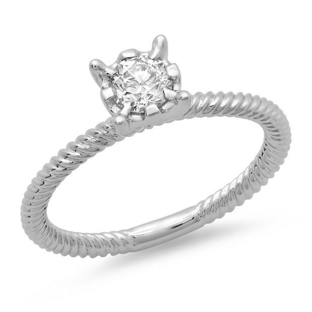 0.40 Carat (ctw) 14K White Gold Round Cut Diamond Ladies Bridal Solitaire Engagement Ring