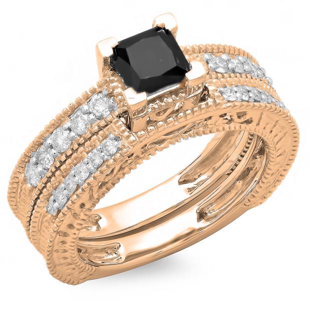 1.50 Carat (ctw) 14K Rose Gold Princess Cut Black & Round White Diamond Ladies Bridal Vintage Engagement Ring With Matching Band Set 1 1/2 CT